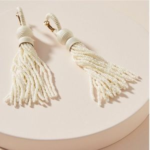Anthropologie Deepa Tassel Drop Beaded Earrings